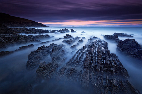 Stunning blue hour image of the Australian coast, long exposure