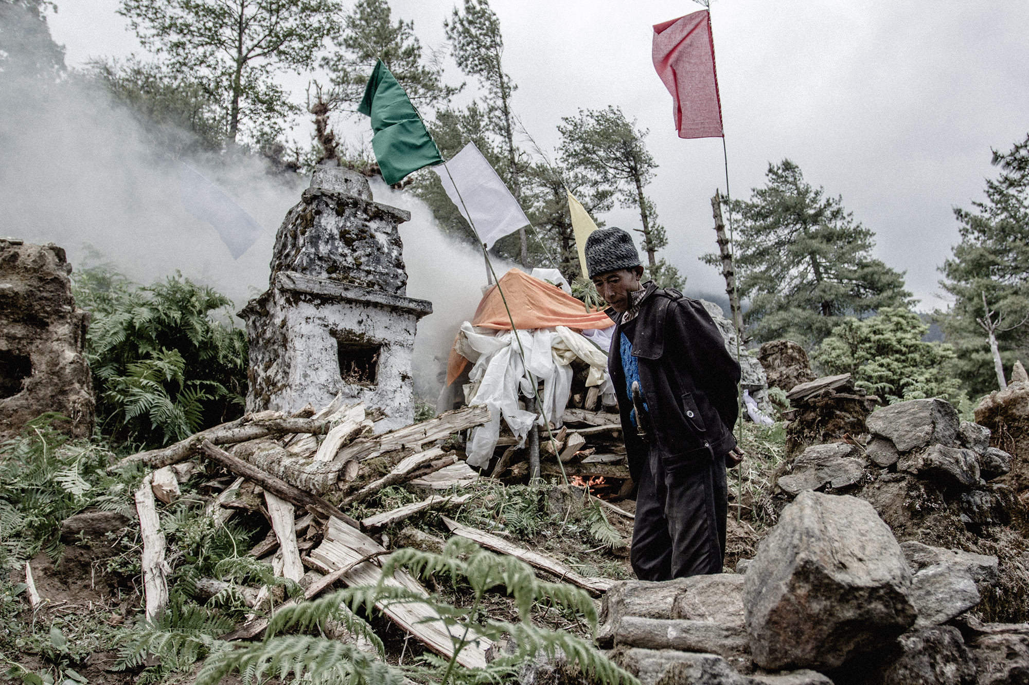 Buddhist funeral in rural Nepal
